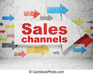 Marketing concept: arrow with Sales Channels on grunge wall background