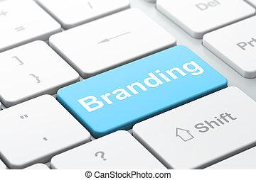 Marketing concept: Branding on computer keyboard background