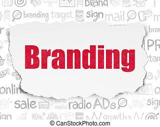 Marketing concept: Branding on Torn Paper background