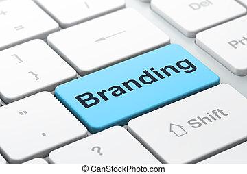 marketing, concept:, brandmarken, auf, computertastatur, hintergrund