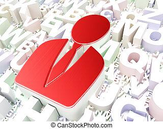 Marketing concept: Business Man on alphabet background