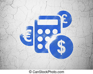 Marketing concept: Calculator on wall background