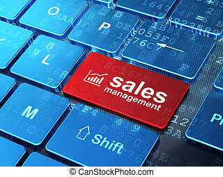 Marketing concept: computer keyboard with Growth Graph icon and word Sales Management on enter button background, 3d render