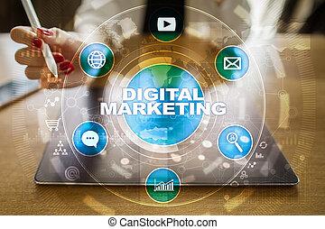 marketing, concept., digitális, advertising., smm., internet., seo., technológia, online.