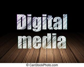 marketing, concept:, digital közeg, alatt, grunge, sötét szoba