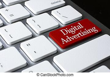 marketing, concept:, digitale, pubblicità, bianco, tastiera