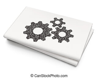 Marketing concept: Gears on Blank Newspaper background