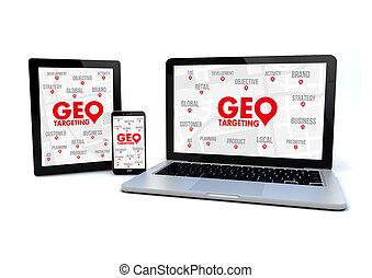 Marketing concept: geo targeting - render of an smartphone,...