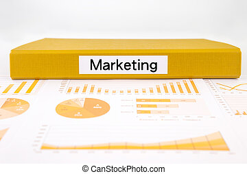 Marketing concept, graphs, charts and market trend research
