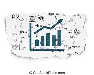 Marketing concept: Growth Graph on Torn Paper background