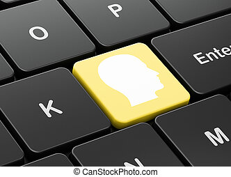 Marketing concept: Head on computer keyboard background