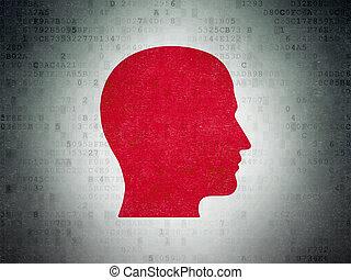 Marketing concept: Head on Digital Paper background