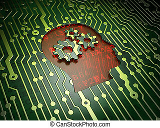 Marketing concept: Head With Gears on circuit board background