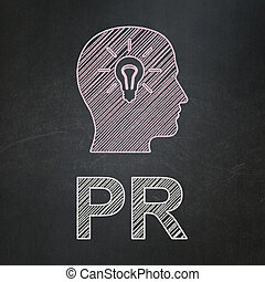 Marketing concept: Head With Light Bulb and PR on chalkboard...