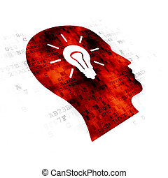 Marketing concept: Head With Light Bulb on Digital background
