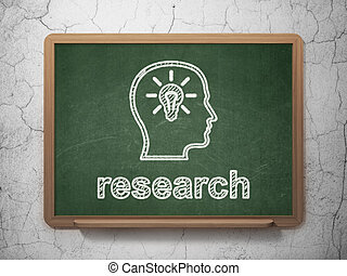 Marketing concept: Head With Lightbulb and Research on...