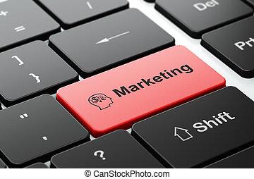 marketing, concept:, hoofd, met, financiën, symbool, en,...