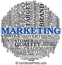 marketing, concept, in, woord, label, wolk