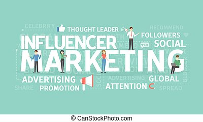 marketing, concept., influencer