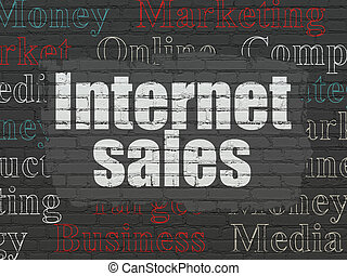 Marketing concept: Internet Sales on wall background -...
