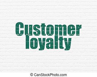 marketing, concept:, kundenloyalität, auf, wand, hintergrund
