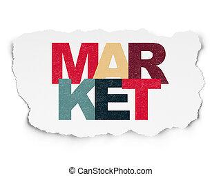 Marketing concept: Market on Torn Paper background