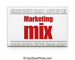 Marketing concept: newspaper headline Marketing Mix