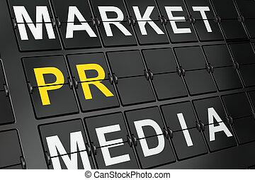 Marketing concept: PR on airport board background, 3d render