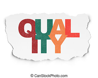 Marketing concept: Quality on Torn Paper background