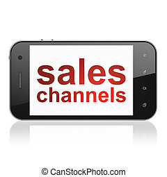 Marketing concept: Sales Channels on smartphone - Marketing...