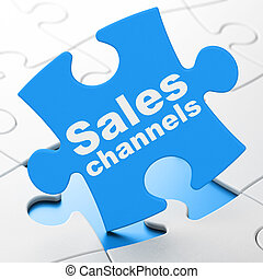 Marketing concept: Sales Channels on puzzle background -...