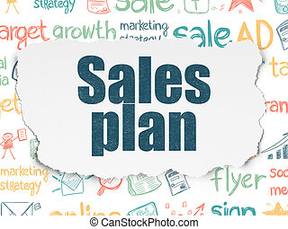 Marketing concept: Sales Plan on Torn Paper background