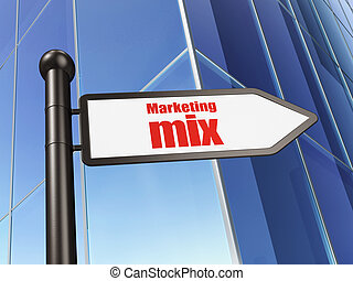 Marketing concept: sign Marketing Mix on Building background