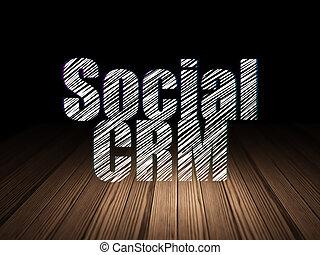 Marketing concept: Social CRM in grunge dark room