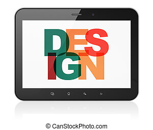 Marketing concept: Tablet Computer with Design on  display