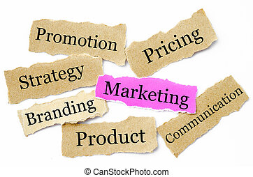 Marketing concept torn newspaper headlines
