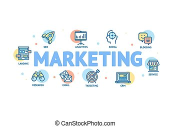 Marketing Concept with Thin Line Icons. Vector