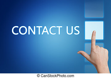 Contact us - Marketing concept: words Contact us on blue ...