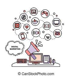 marketing, concetto, digitale