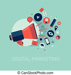 marketing, concetto, illustrazione, digitale