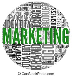 marketing, concetto, parola, nuvola, etichetta