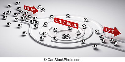 Marketing Conversion Funnel - 3D illustration of a...