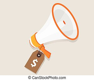 marketing cost budget promotion plan advertising strategy megaphone and price tag