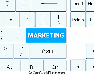 Marketing cyan blue keyboard button