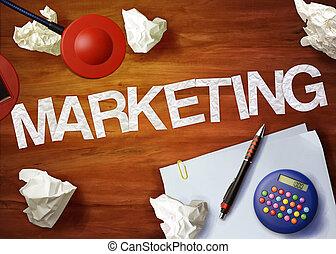 marketing, desktop, memorandum, rekenmachine, kantoor,...