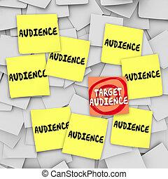 marketing destino, notas, pegajoso, audiência, tábua, mensagem, boletim