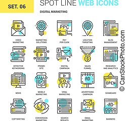 marketing, digitale, icone