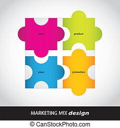 marketing, disegno, speciale, miscelare