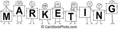 marketing, donne affari, testo, uomini affari, presa a terra, segni, cartone animato