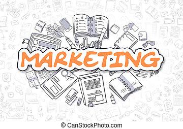 Marketing - Doodle Orange Text. Business Concept.